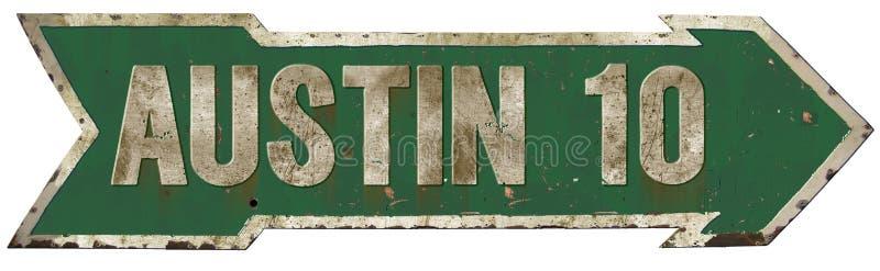 Austin City Limits Directional Arrow Sign. Austin City Roadside Highway Sign Arrow 10 miles vintage rustic music festival grunge stock illustration