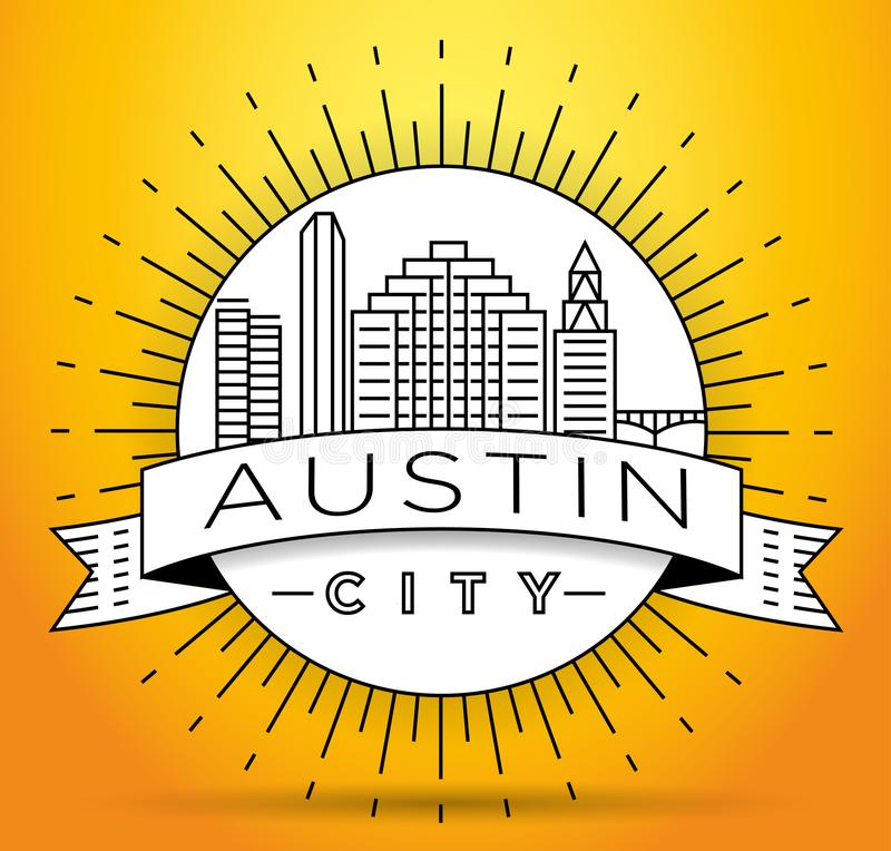 Austin City Linear Skyline mínimo com projeto tipográfico ilustração stock