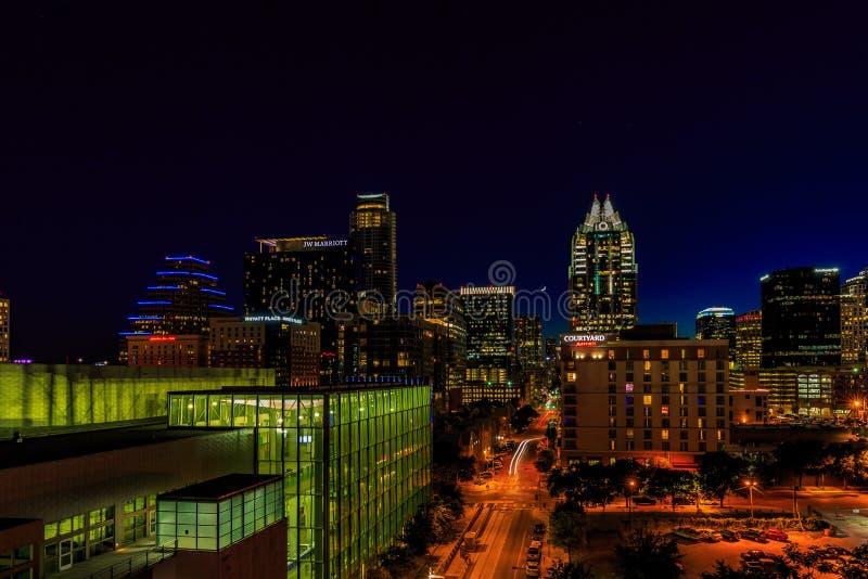 Austin Cityscape del centro alla notte fotografia stock