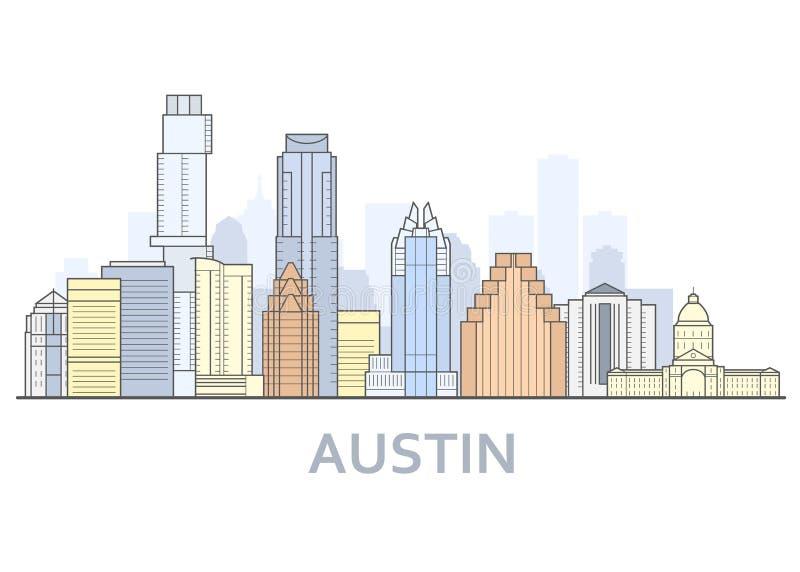 Austin-cityscape, Texas - stadspanorama van Austin, horizon vector illustratie