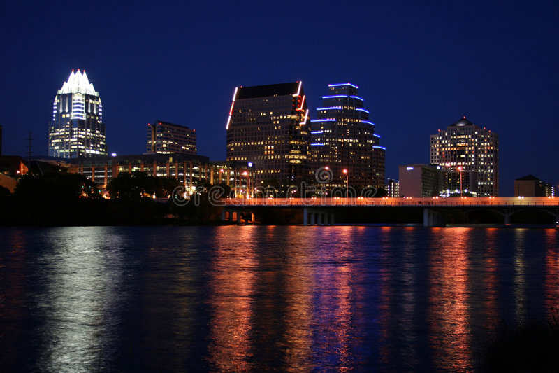 Austin da baixa, Texas na noite imagens de stock royalty free