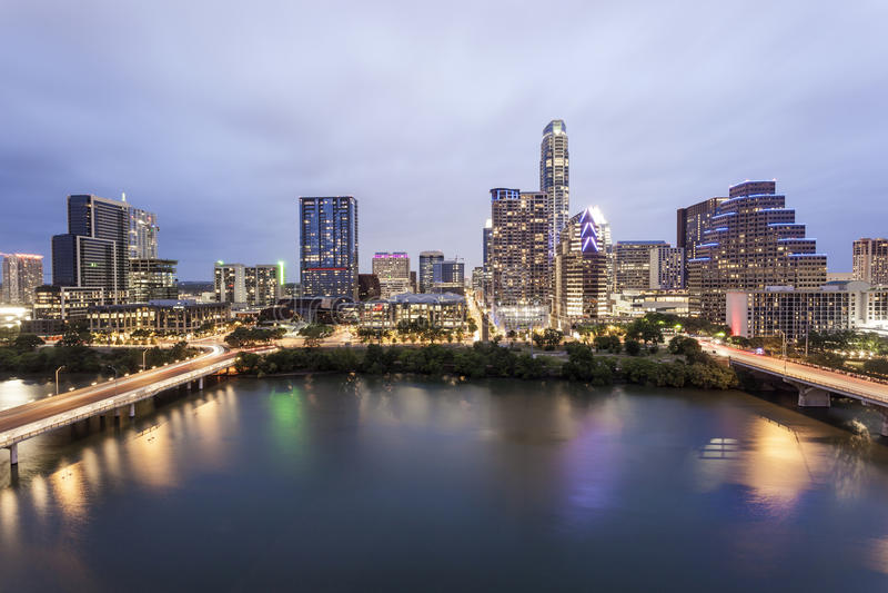 Austin Downtown alla notte Tx, Stati Uniti immagine stock libera da diritti