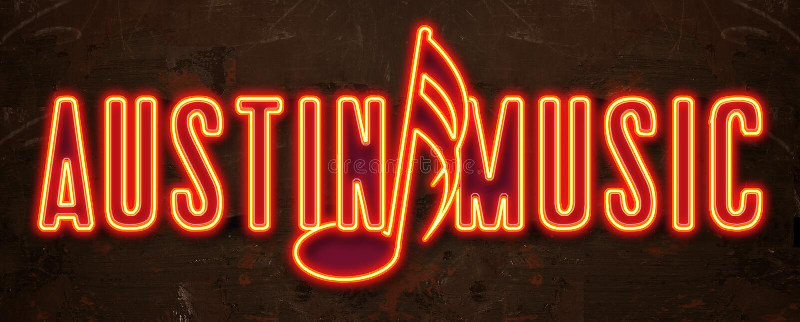 Austin festiwalu muzyki Neonowy znak royalty ilustracja