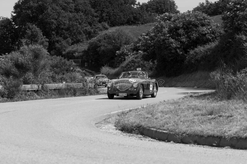 AUSTIN HEALEY 100/4 BN2 1956 on an old racing car in rally Mille Miglia 2018 the famous italian historical race 1927-1957. PESARO COLLE SAN BARTOLO , ITALY - MAY stock photo
