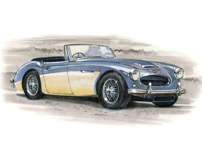Austin Healey 3000 royalty free illustration