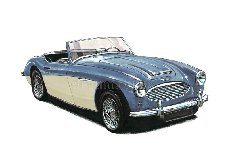 Austin Healey Sportscar. Blue over cream Austin Healey Sportscar vector illustration