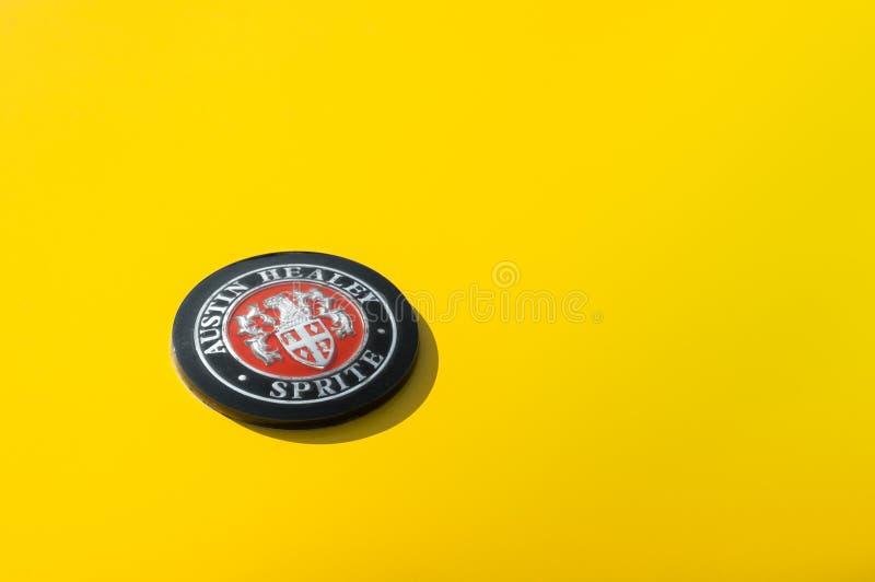Austin Healey Sprite badge immagine stock libera da diritti