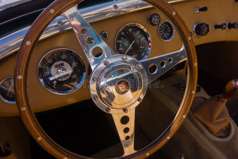 Austin Healey Steering Wheel Interior stock afbeeldingen