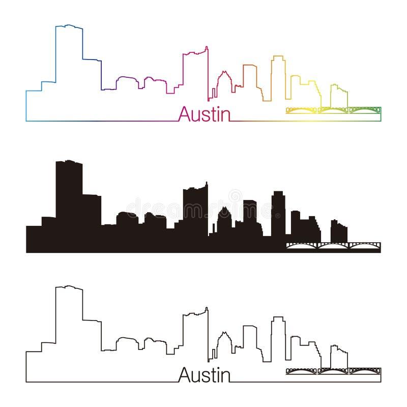 Austin-horizon lineaire stijl met regenboog royalty-vrije illustratie