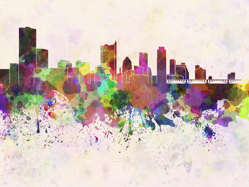 Austin-horizon op waterverfachtergrond vector illustratie