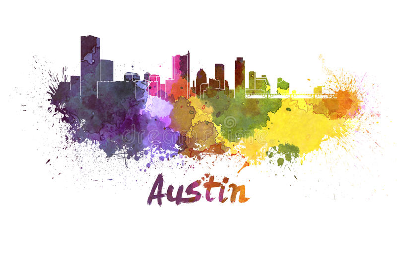 Austin-horizon in waterverf royalty-vrije illustratie