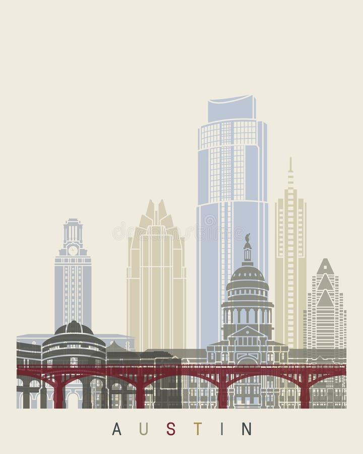 Austin-horizonaffiche royalty-vrije illustratie