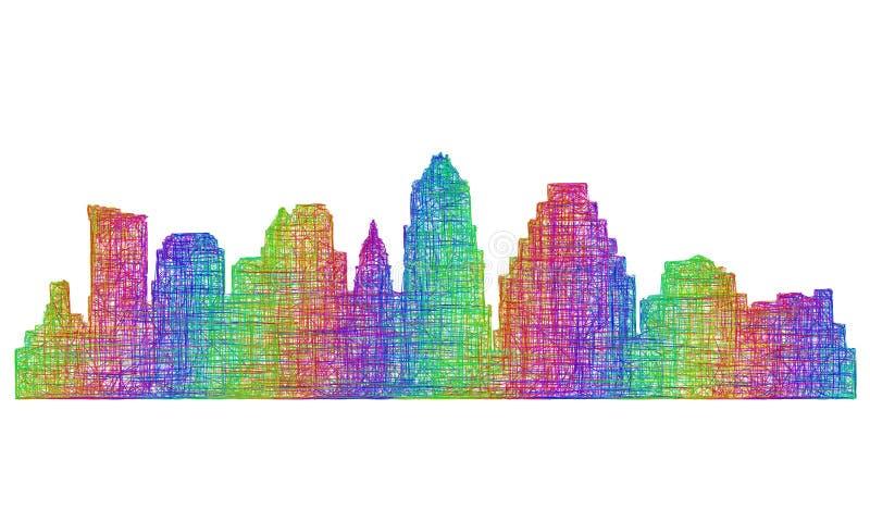 Austin-horizonsilhouet - veelkleurig lijnart. stock illustratie