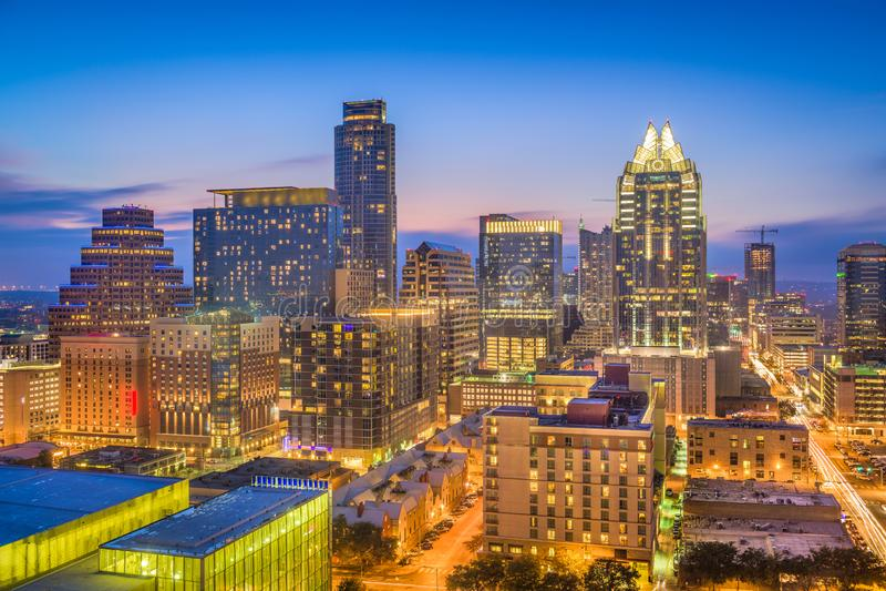 Austin, il Texas, orizzonte di U.S.A. immagini stock libere da diritti