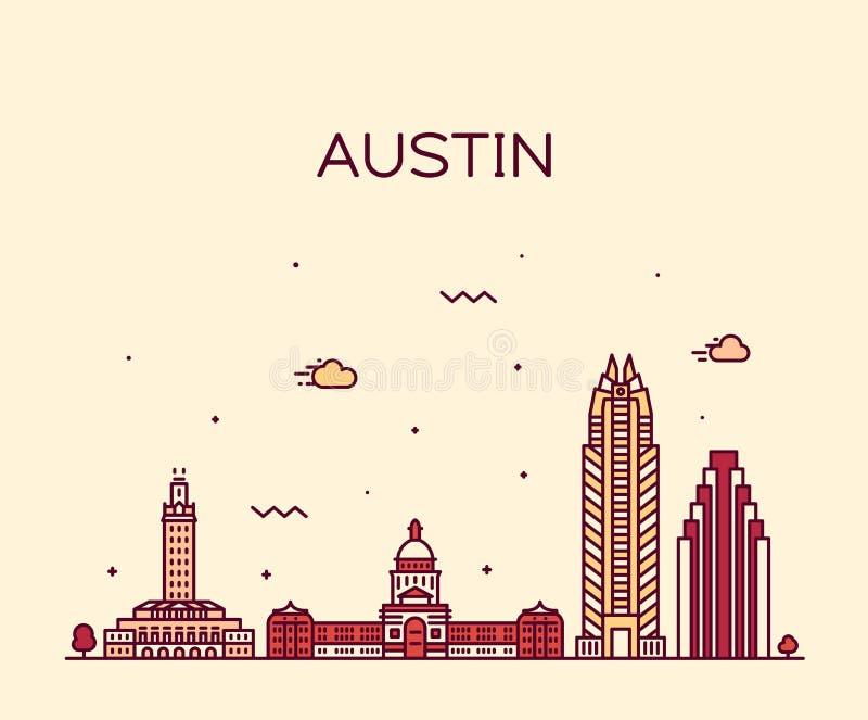 Austin linia horyzontu, Teksas, usa Wektorowy liniowy styl ilustracji