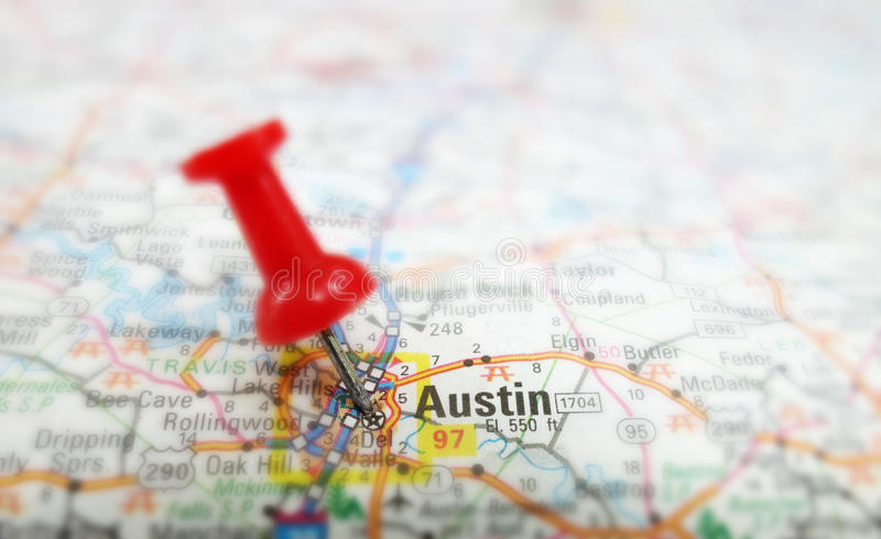 Austin map. Closeup of a map of Austin Texas with red tack stock photo