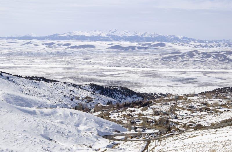 Austin Nevada coberto na neve imagem de stock
