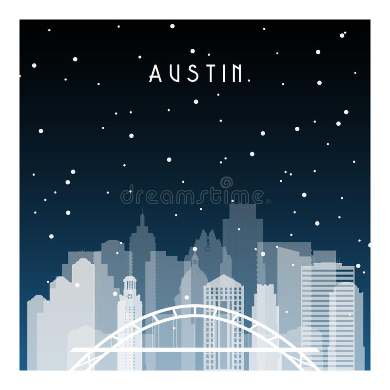 Austin City Skyline Horizontal Banner. Stock Vector