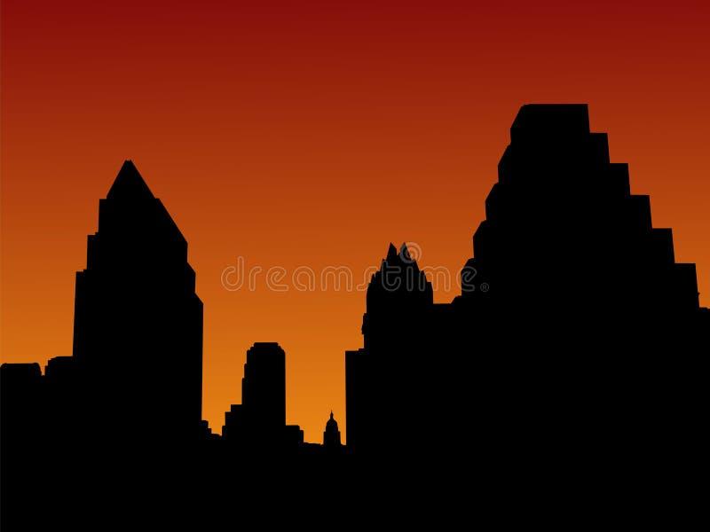 Austin Skyline at sunset stock illustration