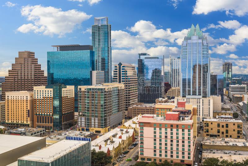 Austin, Skyline Texas, USA stockfotos