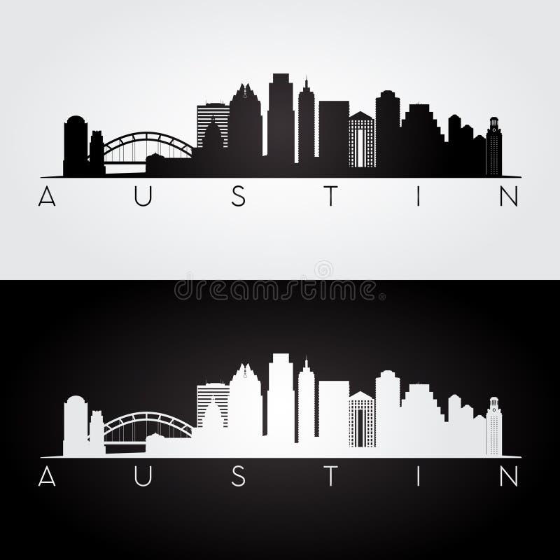 Austin-Skylineschattenbild lizenzfreie abbildung
