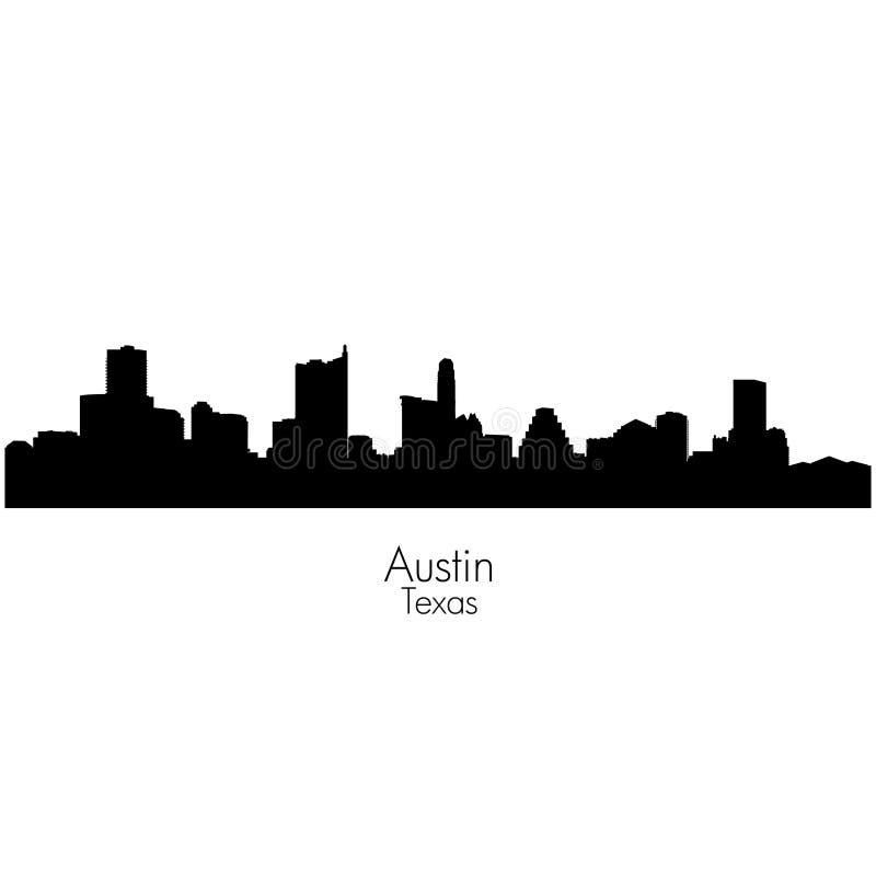 Austin-stad, kapitaal van vector het silhouethorizon van Texas vector illustratie