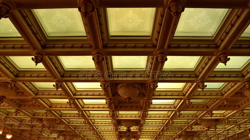 Austin State Capitol Hall. Ceiling, with beautiful carved dooms royalty free stock photo