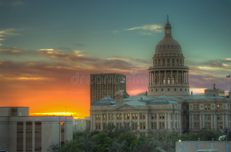 Austin State Capitol. Sunset at the Austin State Capitol building royalty free stock photo