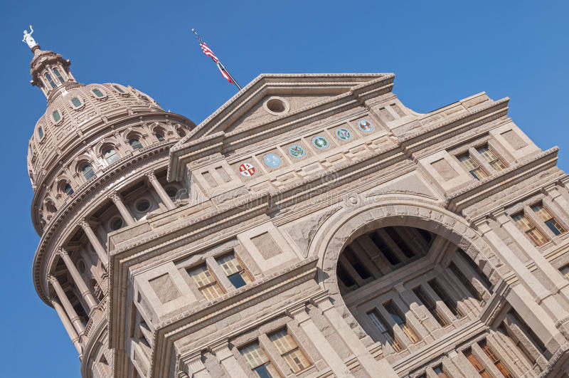 Austin state capitol of Texas. Beautiful majestic state capitol building in Austin, Texas on a sunny day with pure blue sky royalty free stock photos
