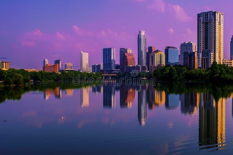 Austin Sunrise Reflections Skyline Cityscape royalty-vrije stock foto's