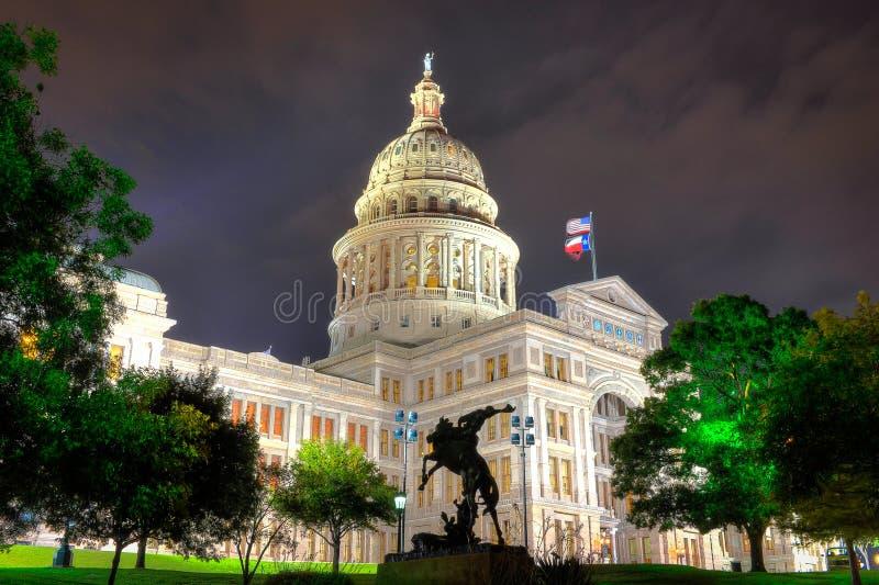 Austin, Teksas kapitałowy budynek przy nocą obraz royalty free