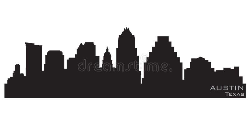 Austin Teksas miasta linia horyzontu Szczegółowa wektorowa sylwetka ilustracji