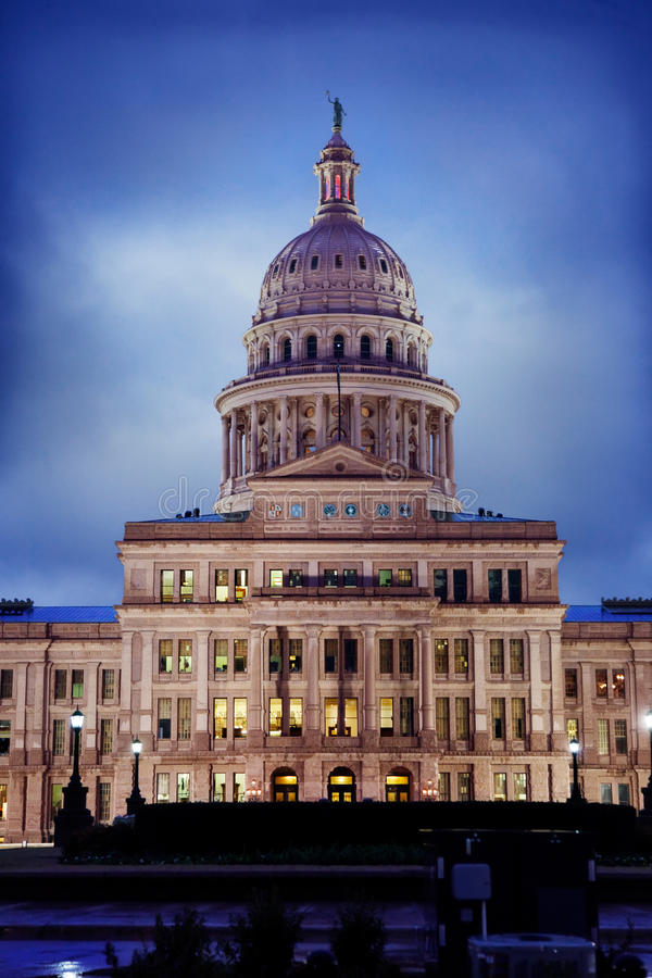 Austin Texas Capitol. Texas State Capitol building in Austin on a rainy evening royalty free stock photography