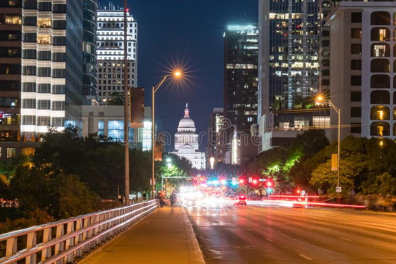 Austin, Texas Capitol Building. From the Congress Avenue Bridge at night stock images