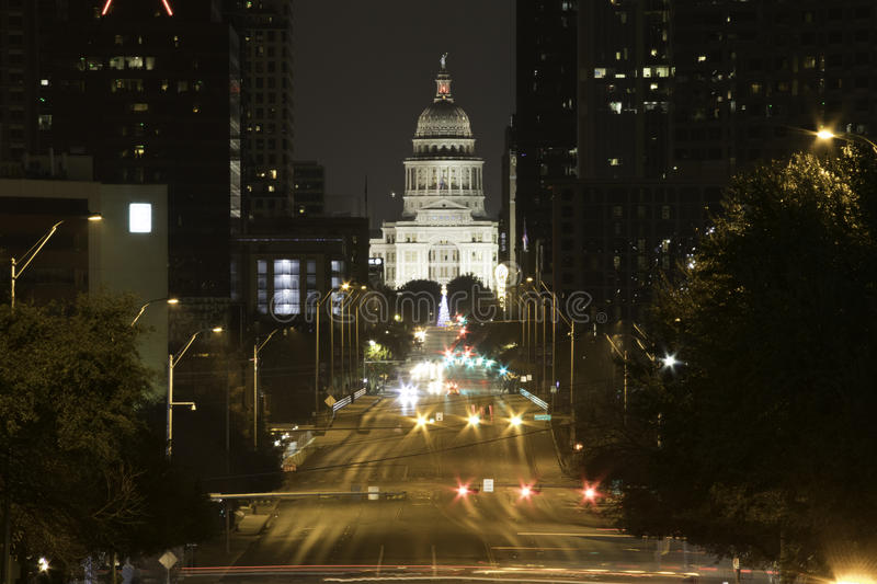 Austin Texas Capitol at night. View of Capitol building at night from Congress Avenue in Austin Texas stock photo