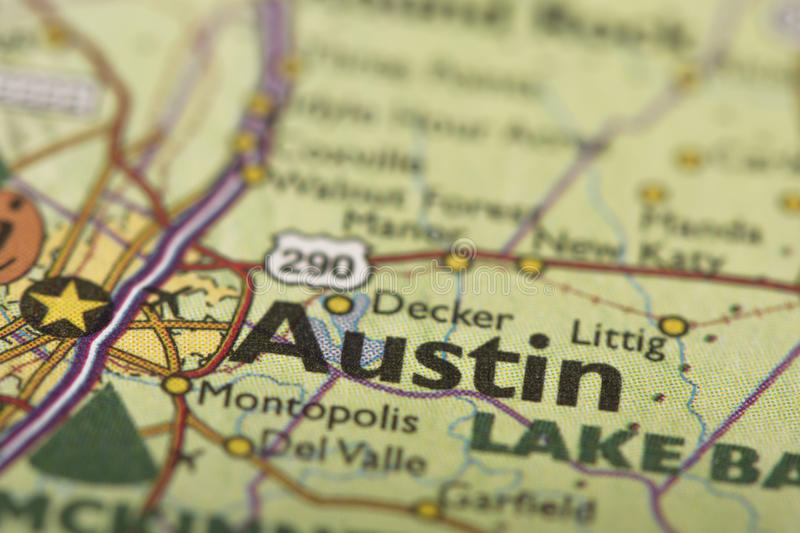 Austin, Texas on map. Closeup of Austin, Texas on a political map of the United States stock photography