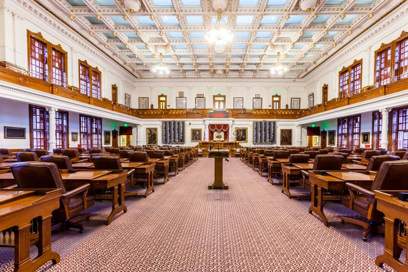 AUSTIN, TEXAS - MARCH 28, 2018 - House of Representatives Chamber in Texas State Capitol in the Capital, floor view.  stock photos