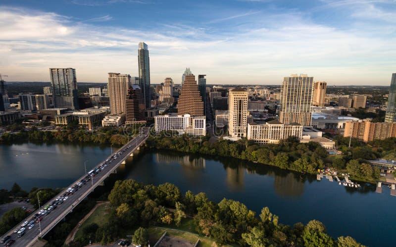 Aerial View Colorado River Downtown City Skyline Austin Texas USA royalty free stock image
