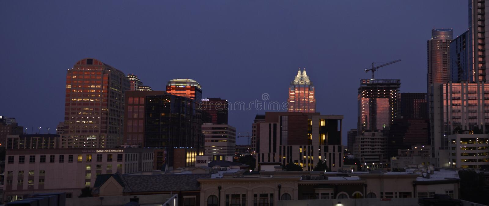 Austin Texas at night royalty free stock photography