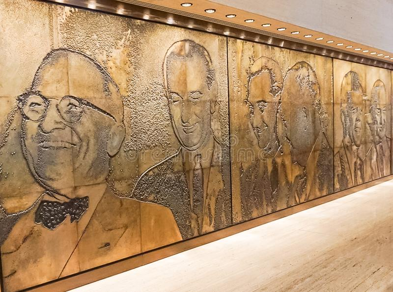 AUSTIN TEXAS - 17. September 2017 Wandgemälde an Bibliothek und an Museum Lyndon B Johsnon LBJ in Austin, Te stockbilder