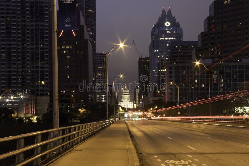 Austin Texas Skyline bij Nacht royalty-vrije stock fotografie