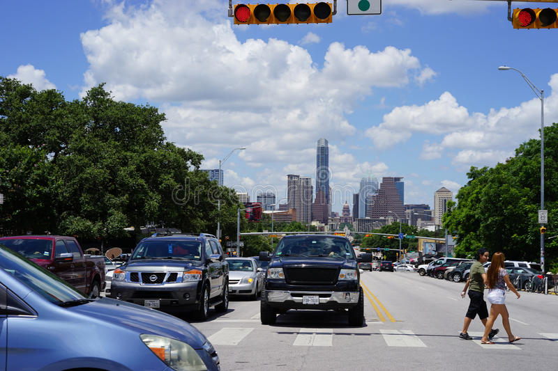 Austin, Texas skyline with Capitol building. When crossing South Congress and looking north to downtown Austin, you can see the Frost Tower, Texas state capitol royalty free stock photo