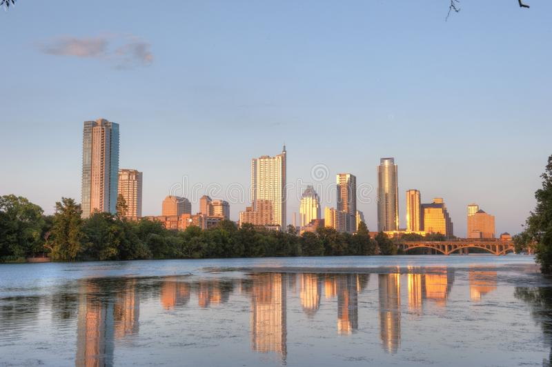 Austin, Texas skyline reflection stock images