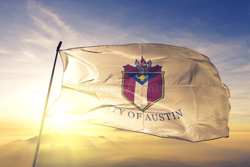Austin of Texas of United States flag waving on the top. Austin of Texas of United States flag waving stock photos