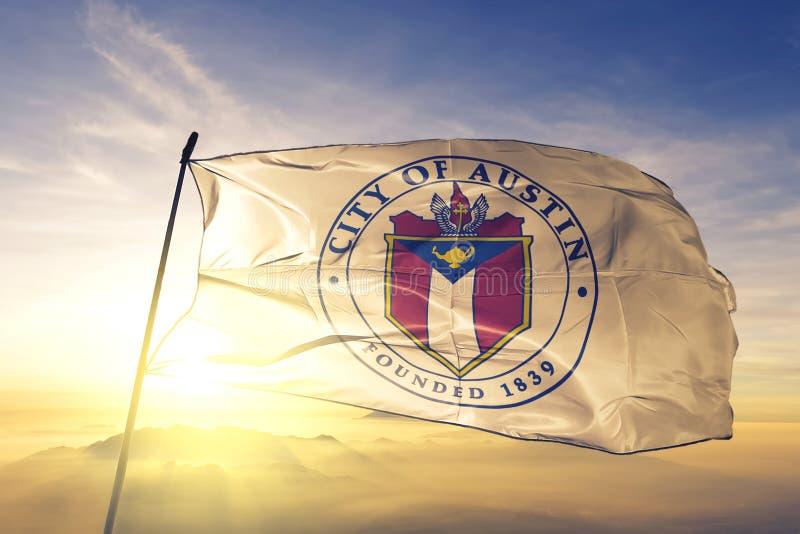 Austin of Texas of United States flag waving on the top. Austin of Texas of United States flag waving royalty free stock photo