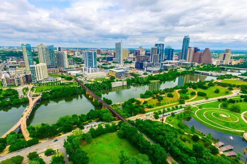 Austin , Texas , USA green nature meets city aerial drone view above modern downtown skyline cityscape architecture and patterns royalty free stock image