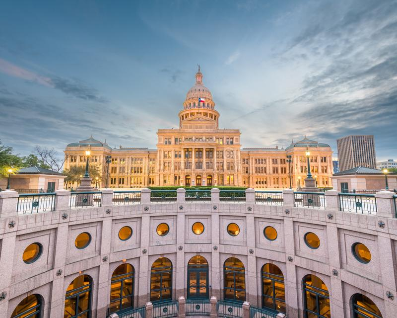 Austin, Texas, USA at the Texas State Capitol. At dusk stock image
