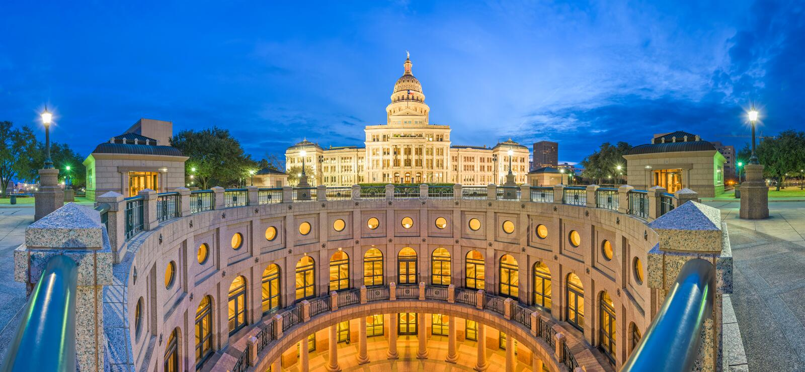 Austin, Texas, USA at the Texas State Capitol. At dusk royalty free stock photography