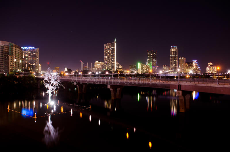 Austin Texas vid natt royaltyfria foton