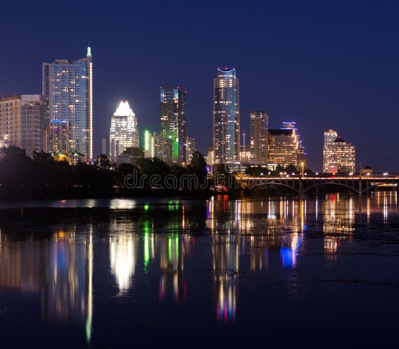 Austin Texas vid natt royaltyfri bild